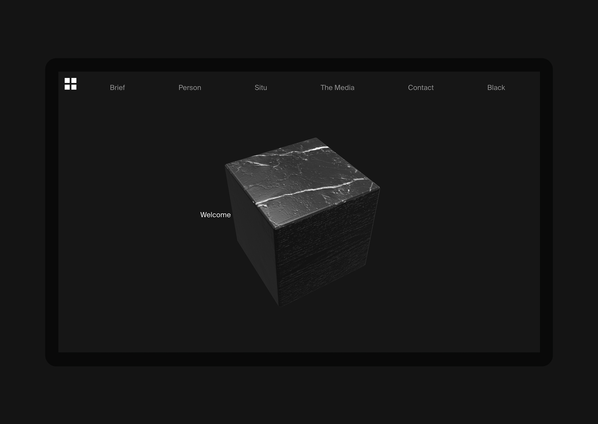 Homepage with WebGL cube