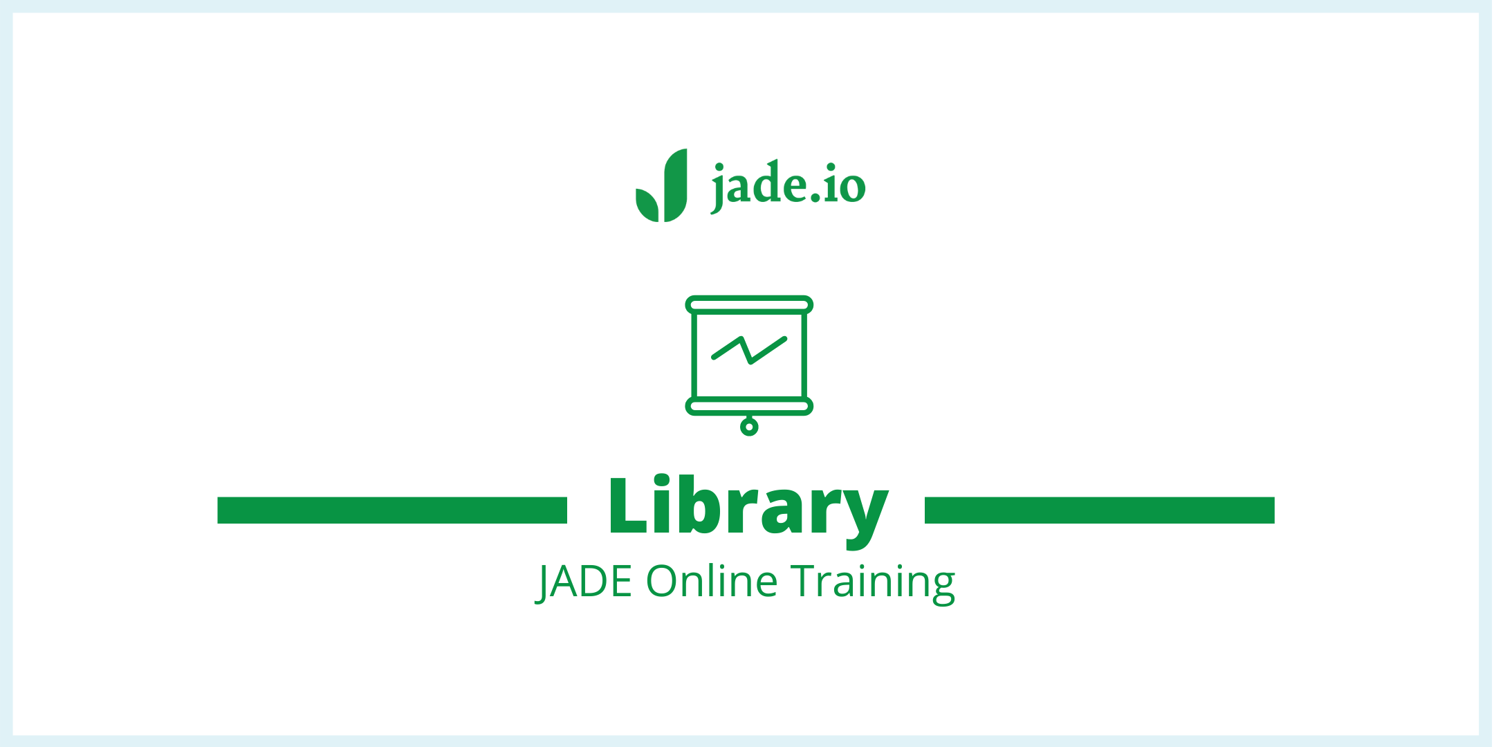 JADE training banner with jade.io logo and heading Library JADE Online Training