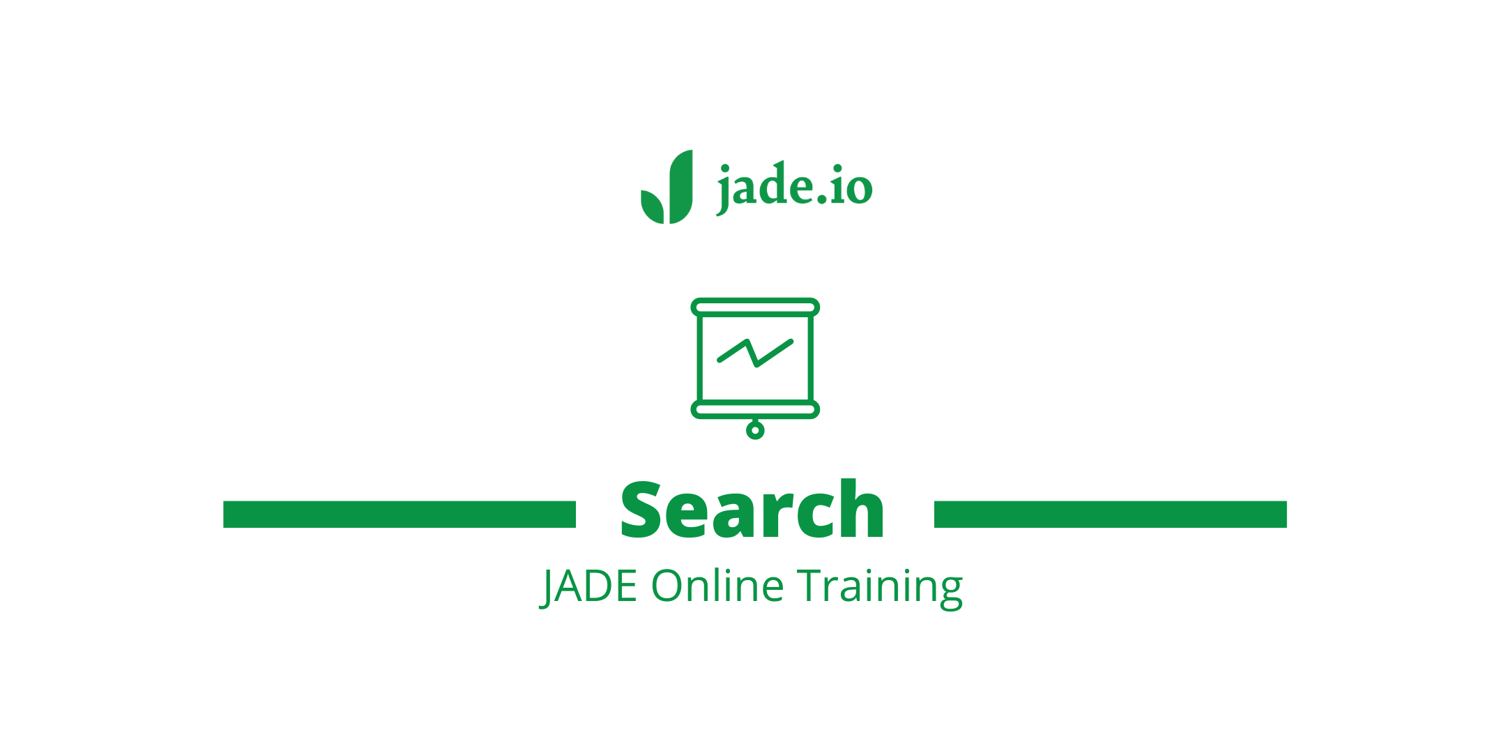 jade.io search training banner with jade logo, search heading and JADE online training