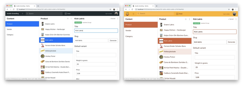 The default Studio on the left with no branding, and our example Studio with custom navigation colors and complete branding on the right.