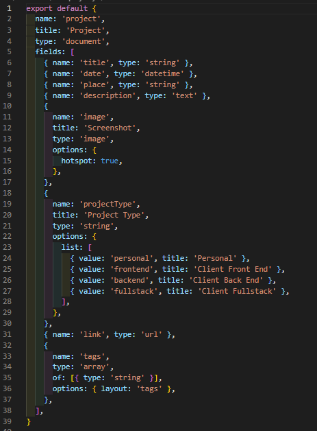 The Project Schema implemented from the CLI to create the Sanity Studio
