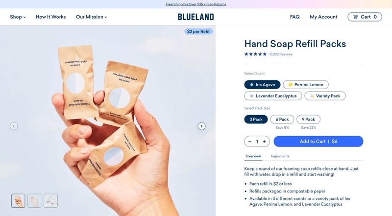 Product detail page including scent and pack size selection. Product option values can be extended with icons or subtitles to reinforce bulk savings.