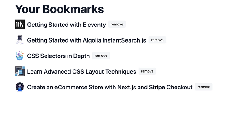 Users can create custom bookmark lists.