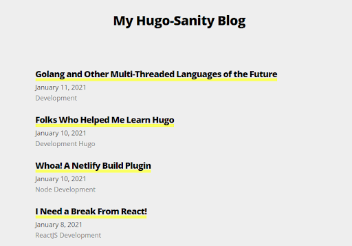 Our blog posts are now rendered on the front page of our starting blog.