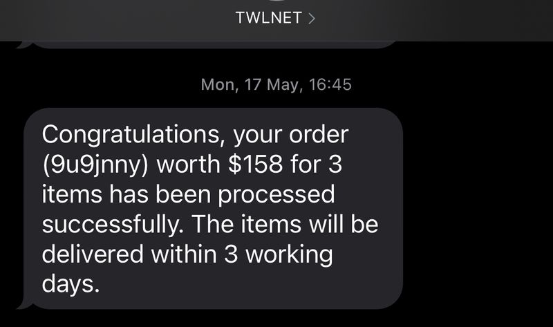 Text message sent via Twilio when 'Checkout' button is clicked