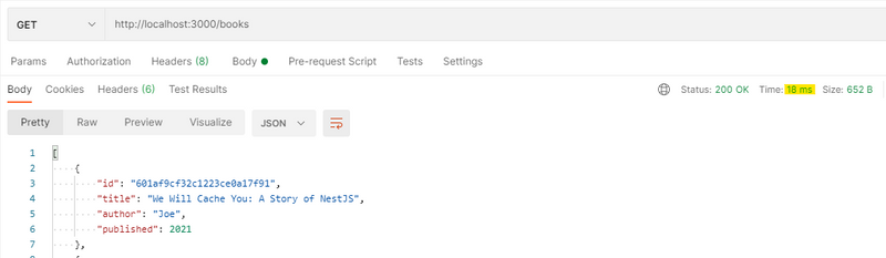 A Postman GET request returns in 15ms.