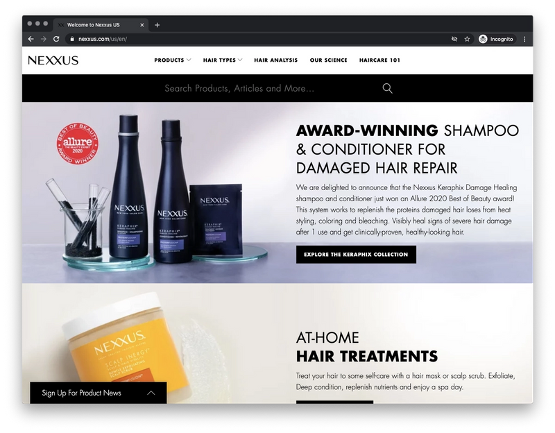 Screenshot of the Nexxus.com Homepage