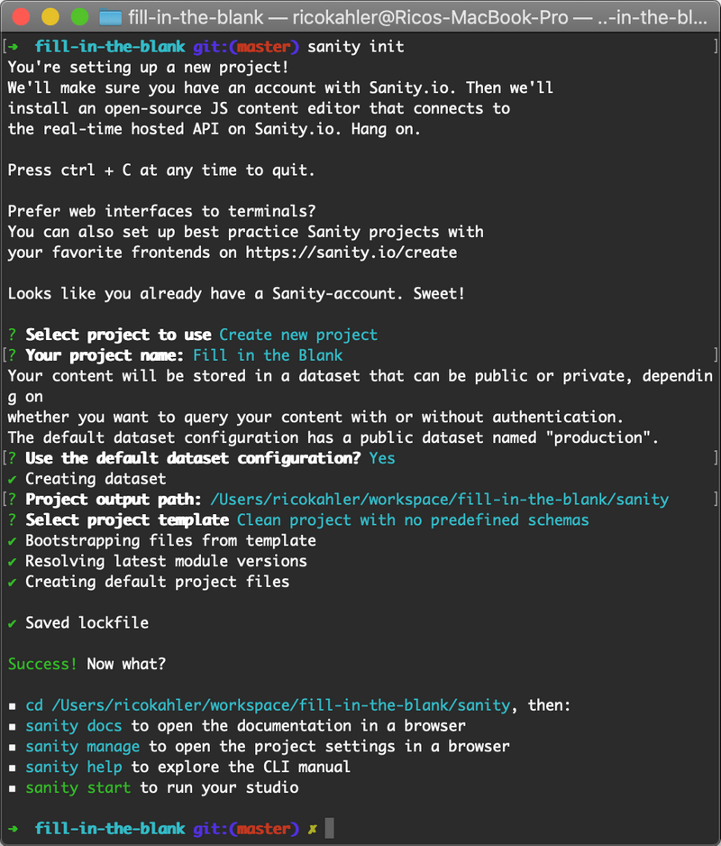 Screenshot of sanity CLI after sanity init