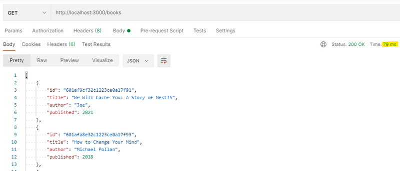 A get request is returned in Postman with an 87ms response time.