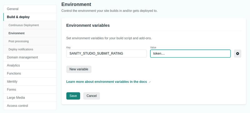 Screenshot of Netlify's environment variables management interface