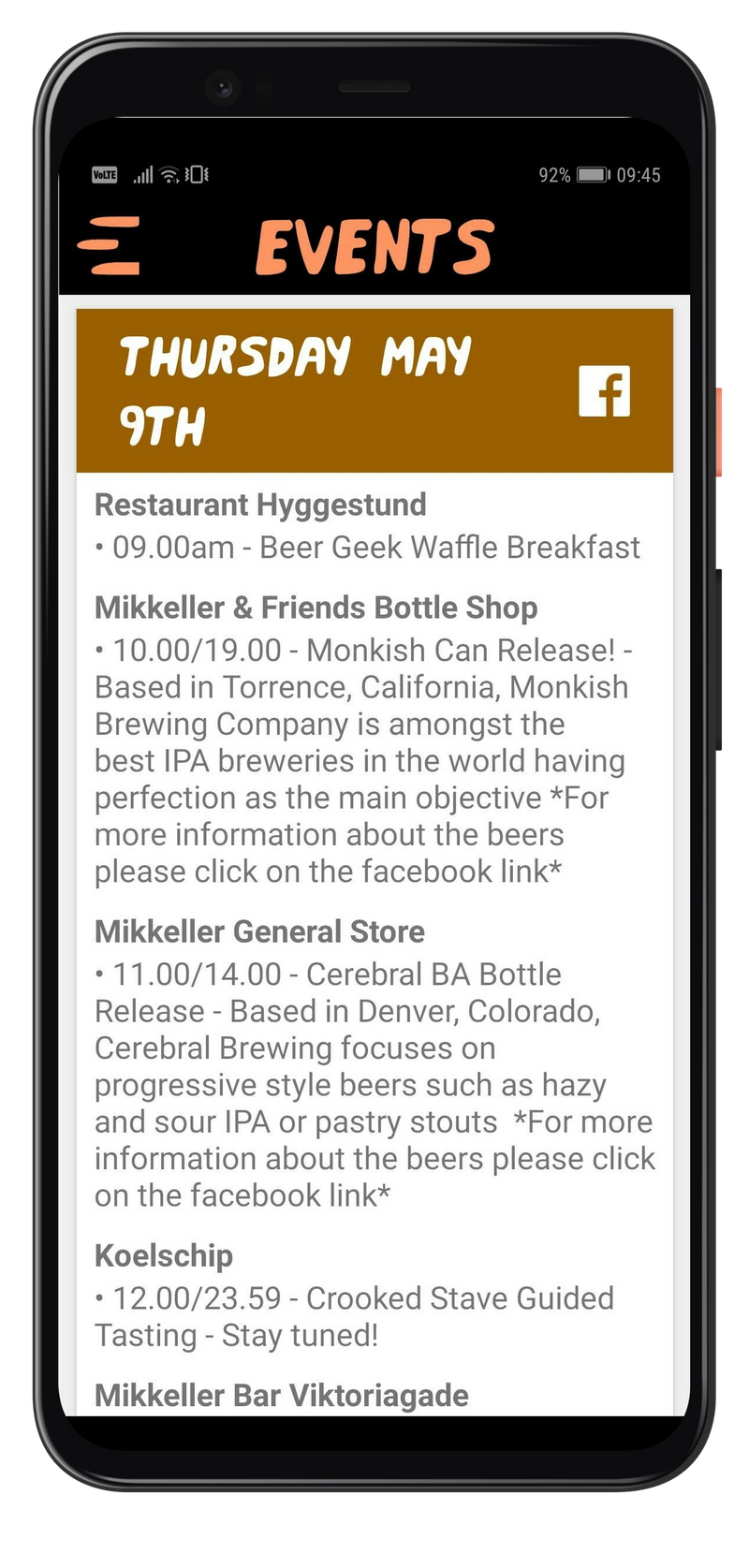 Mobile app showing list of events