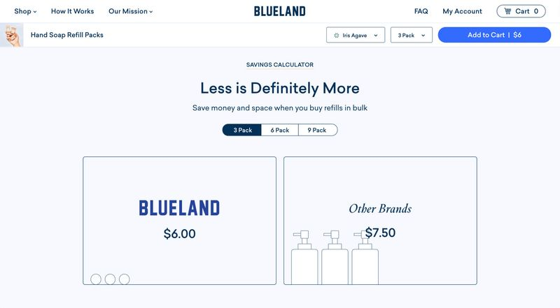 This interactive savings calculator module is just one of over 25 content modules we designed and built to create a flexible, scalable system for Blueland.
