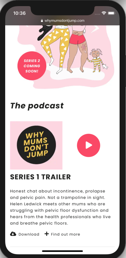 Why Mums Don't Jump homepage mobile screenshot