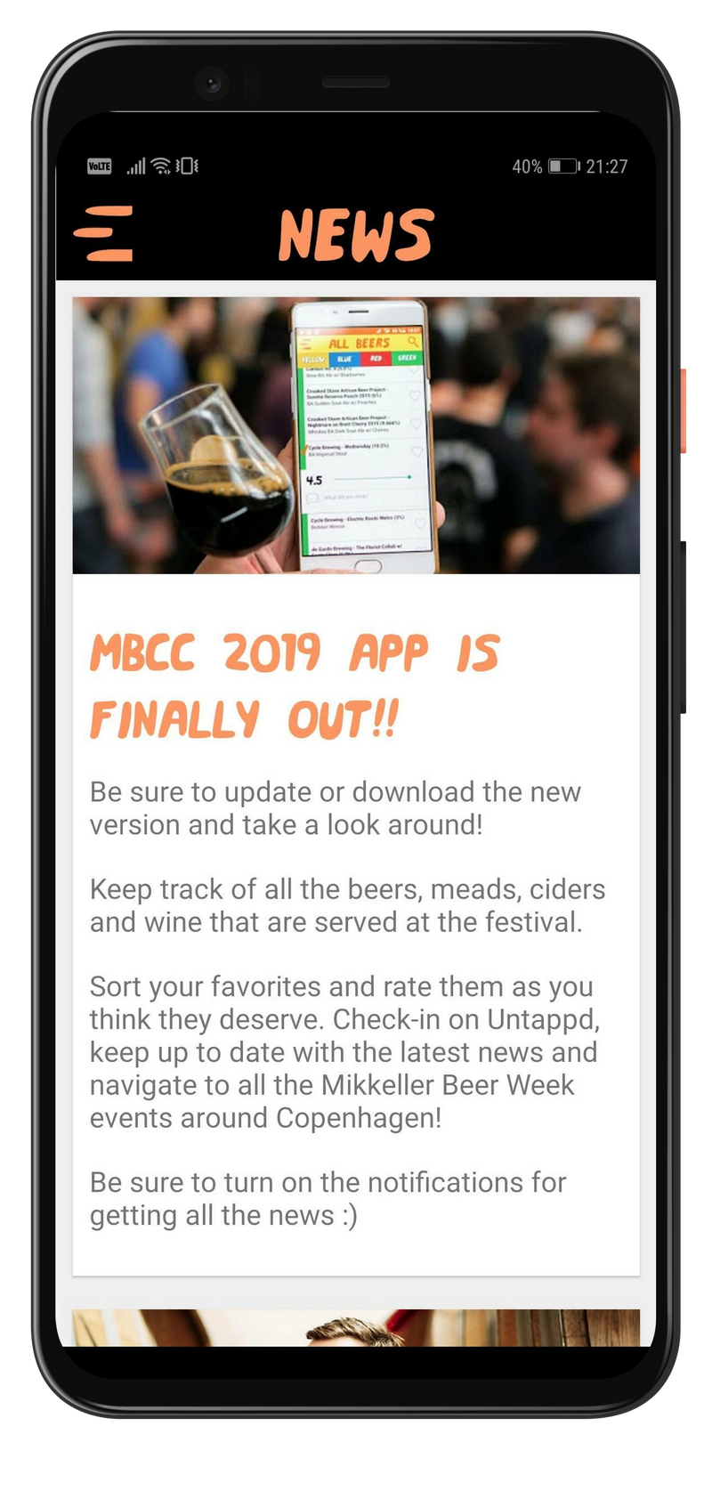 Mobile app showing news feed items