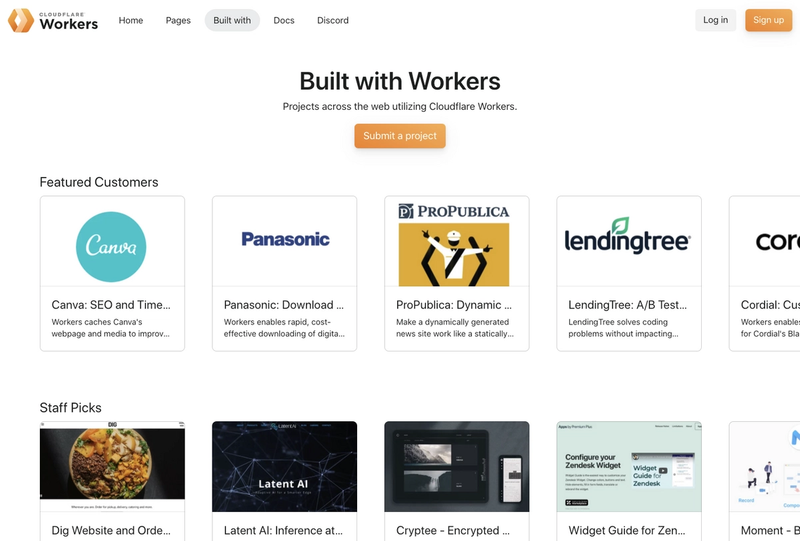 """The """"Built With"""" section containing projects built with Cloudflare Workers, built from an array of custom collections"""