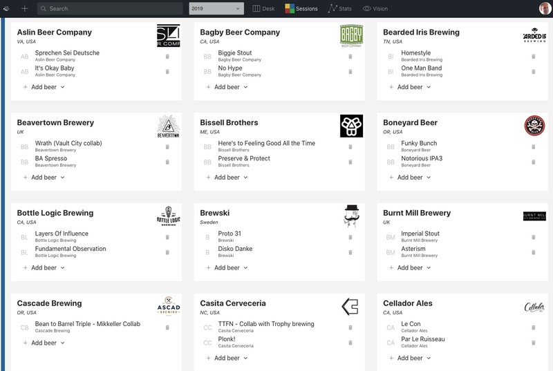 Sanity studio showing list of breweries and which beers they bring to a selected session