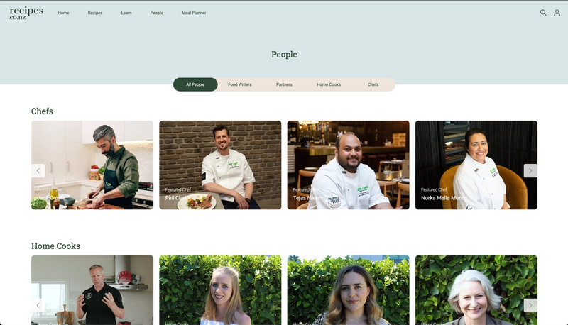 Featured professional kiwi chefs, home cooks and food writers who contribute recipes