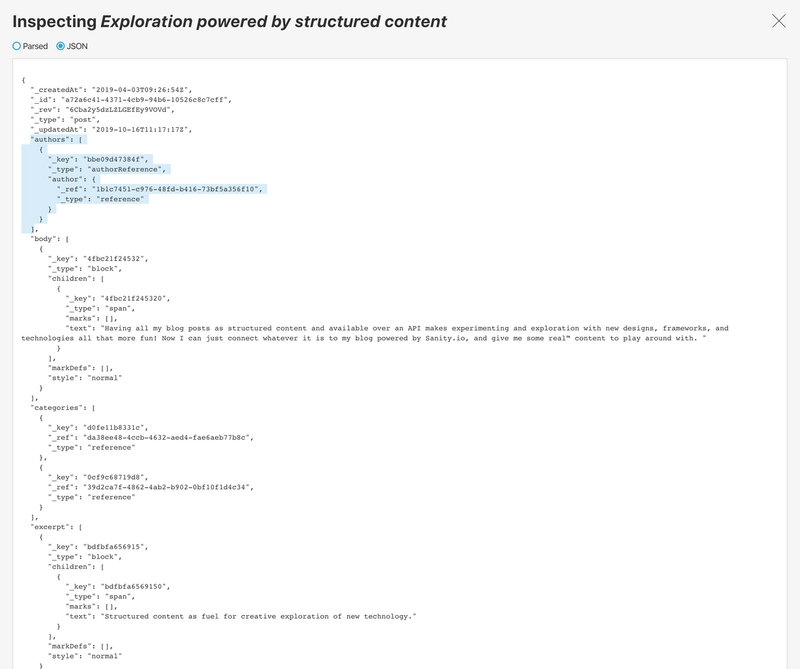 Selecting the authors array in the JSON inspector (Studio Version 0.142.8)