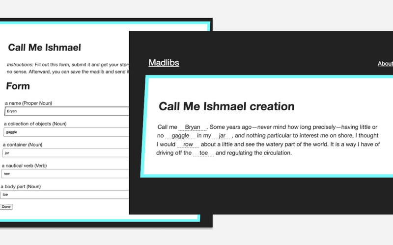The Madlibs interface