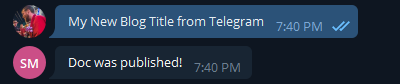 Telegram will confirm the doc was published...