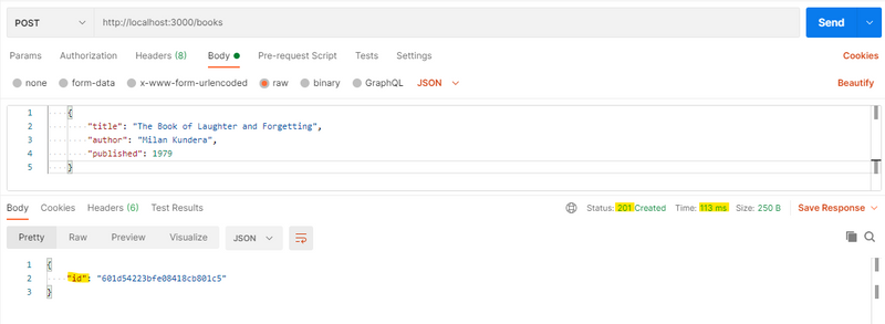 A POST request is written in Postman with a JSON body of 'title', 'author' and year 'published'.