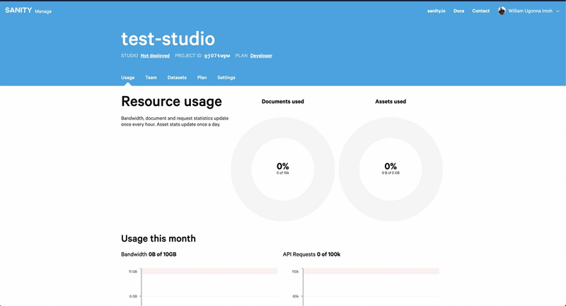 Sanity test studio interface