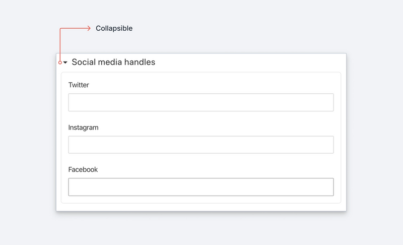 Three social media fields in a collapsible fieldset.