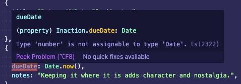 VS Code showing TypeScript error