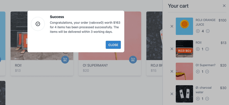 Success modal shown when 'checkout' button is clicked
