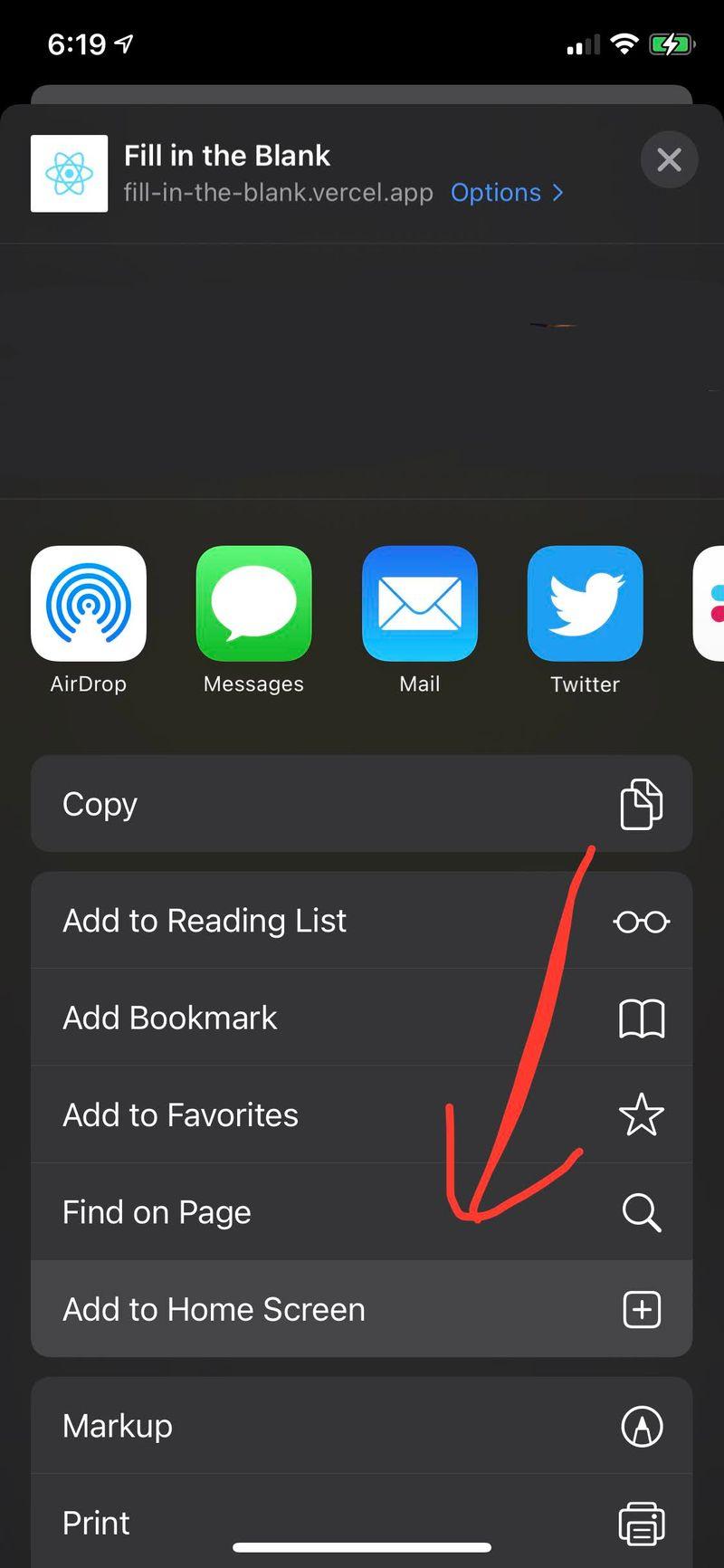 """Screenshot of """"Add to Home Screen"""" in iOS Safari"""