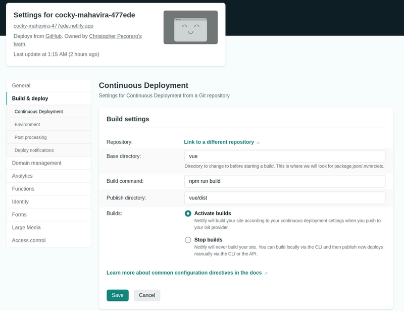 Screenshot of Netlify's continuous deployment build settings interface