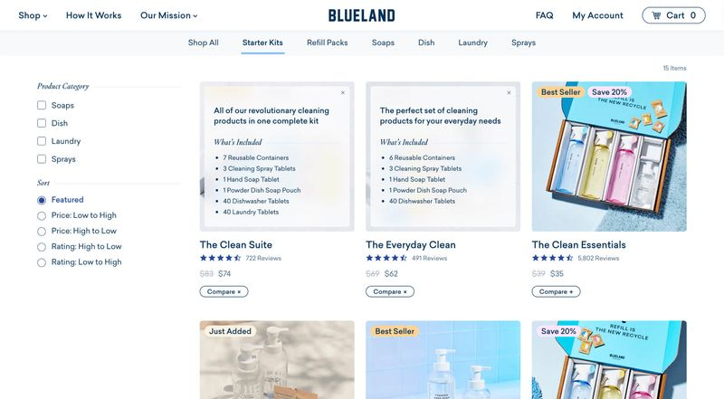 Filterable and sortable product collections with overlays to help customers compare starter kits