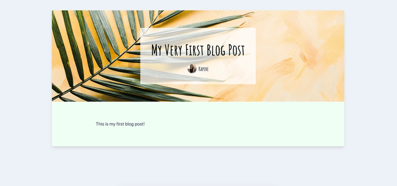 View of OnePost() component with blog post showing