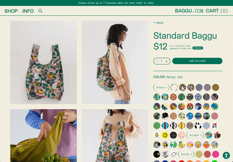 A product landing is actually just a color'd product view, the data like `Standard Baggu` is actually a parent association, images are coming from Shopify but also saved into Sanity for reference, color/print pickers are set up in a Colorway content type