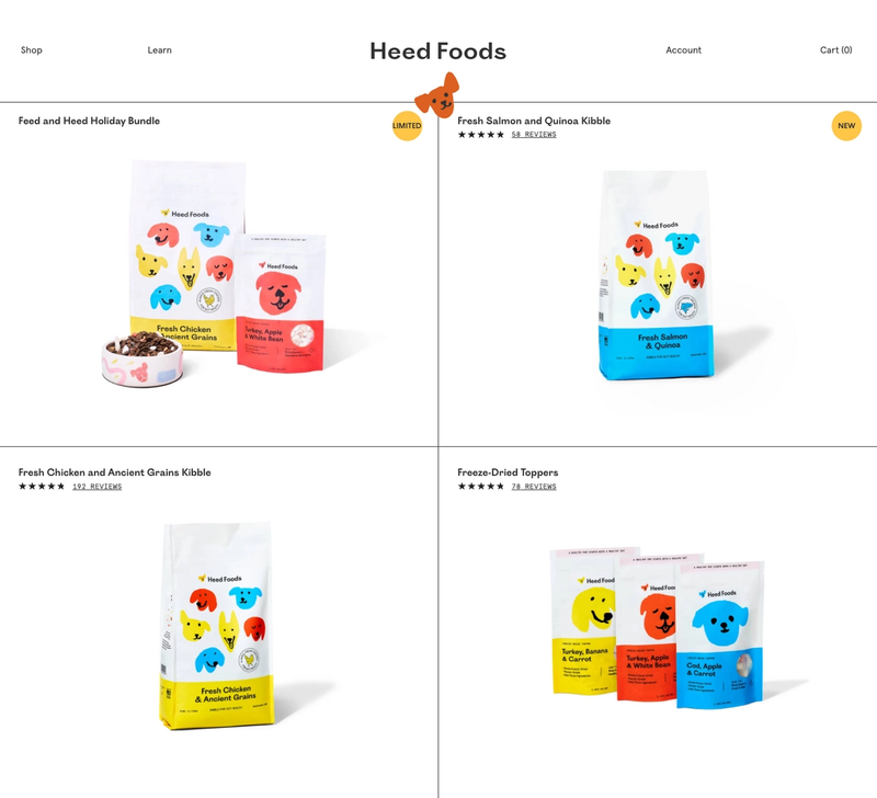 Collections landing page of various products