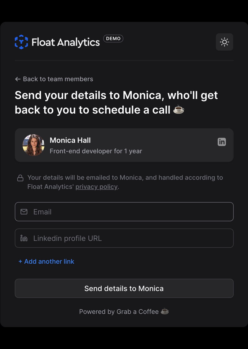 Coffee chat request form