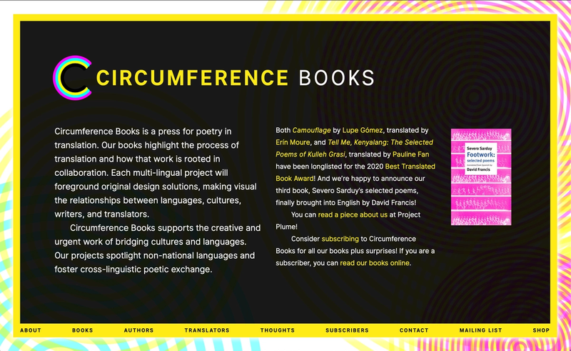 The front page of circumferencebooks.com