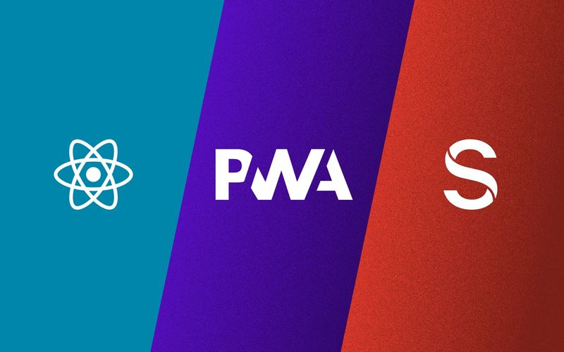 React, PWA, Sanity logos