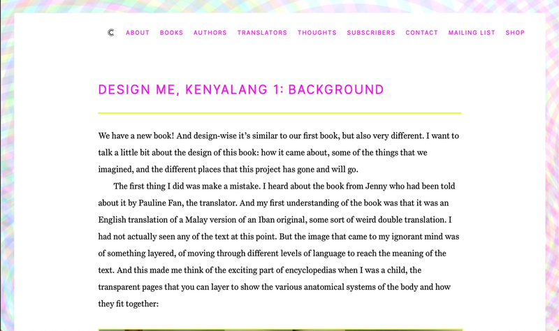 A picture of a blog post at the Circumference Books website