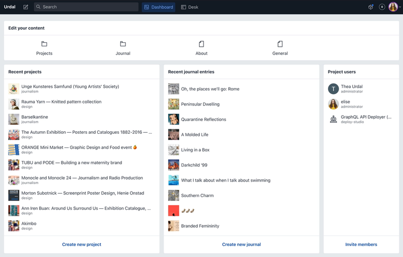 Screenshot of the studio dashboard, showing lists of recent projects and journal entries