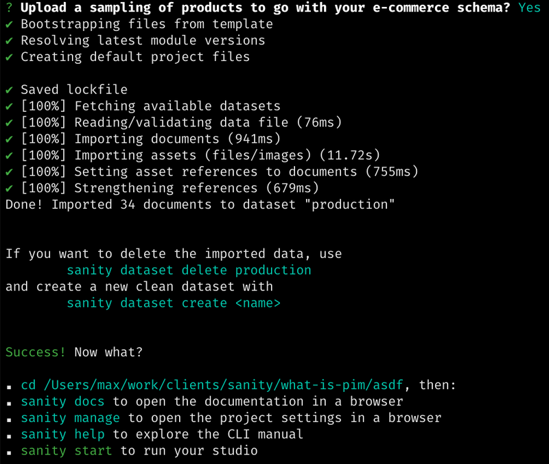 The installation screen summary for your new Sanity project