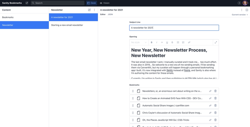 Bookmarks can be added to a newsletter via an array of references