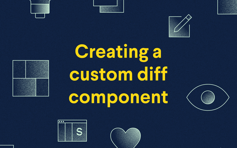 Creating a custom diff component banner image with icons representing the various panes, an eyball, and a heart