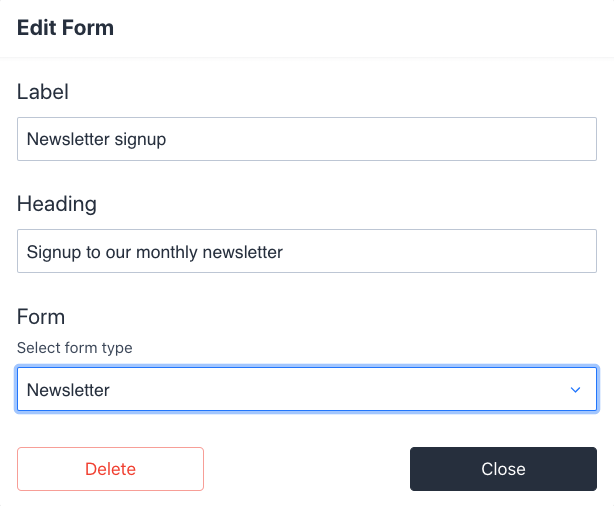 Sanity user interface for a basic form field