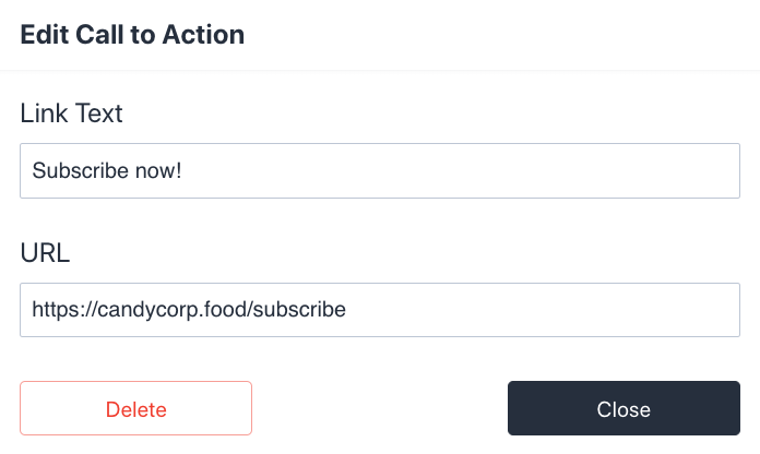 Sanity user interface for call-to-action module