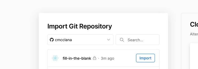 "Screenshot of Vercel ""Import GIt Repository"""