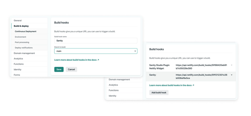 Netlify > Site Settings > Build Hooks