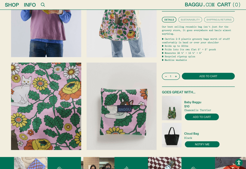 Additional data like details, sustainability, and shipping as well as global upsell types* are set at the Standard Baggu parent level, however ever product inside of Standard Baggu will use this same information, unless explicitly overrode at the product map level.