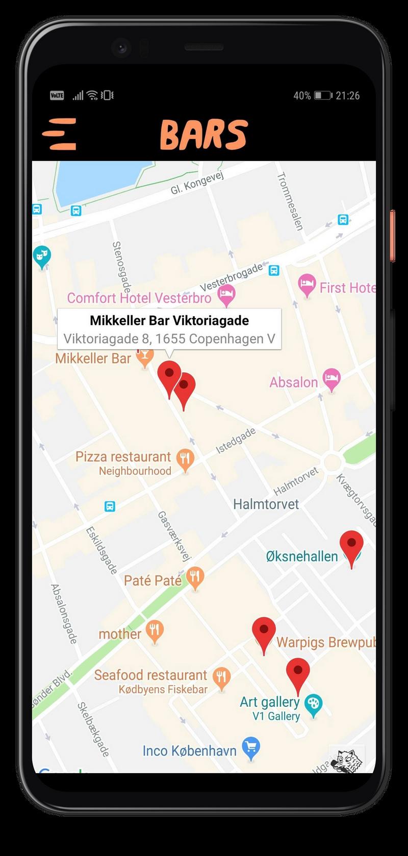 Map showing venues that participates in Mikkeller Beer Week