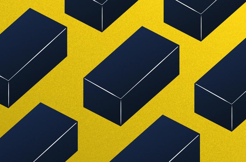 Illustration of dark bricks against a yellow background.